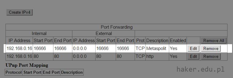 Thomson router UPC - przekierowywanie portów Metasploit Framework