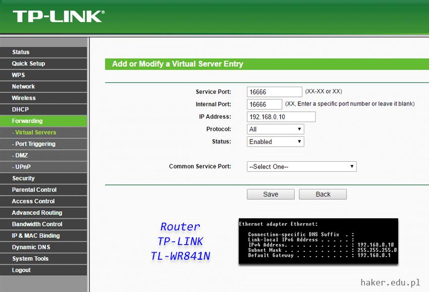 Jak przekierować porty w tp-link