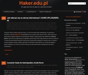 Wygląd bloga haker.edu.pl w 2013 roku